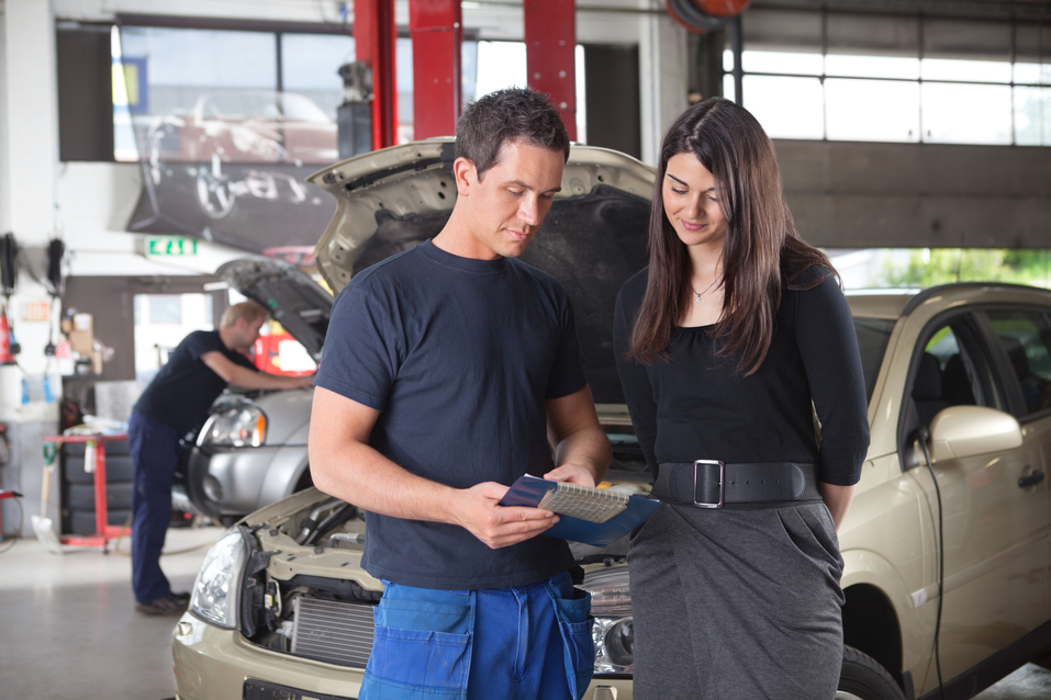 Body Shop Repair mechanic and client