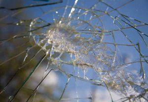 badly cracked windshield